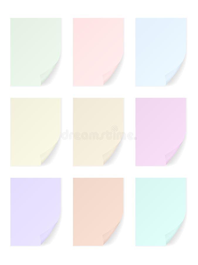Farbpapierblattsatz stock abbildung