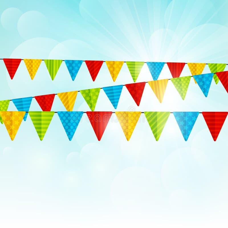Farbparteiflaggen auf sonnigem Hintergrund lizenzfreie abbildung