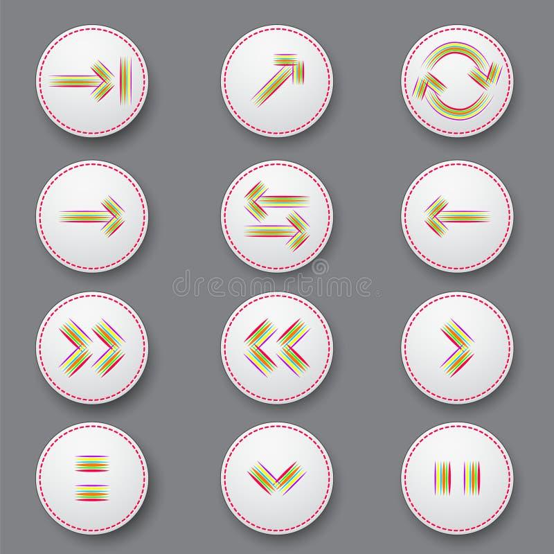 Farbpfeilikonen von den Streifen vektor abbildung