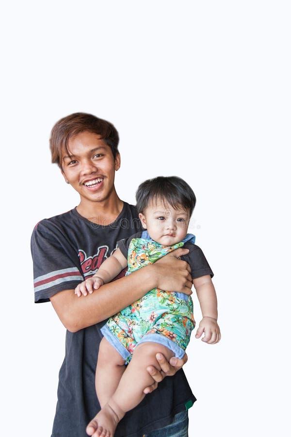 Farbrodern med brorsonen i vit bakgrund fotografering för bildbyråer