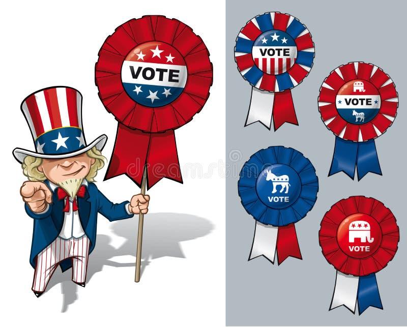 Farbrodern Sam önskar jag att du ska rösta royaltyfri illustrationer