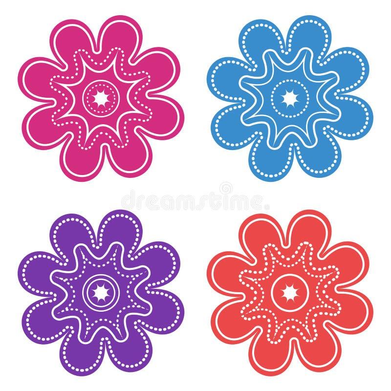 Farbsatz von dekorativen grafischen Blumenikonen Vektor lizenzfreie abbildung