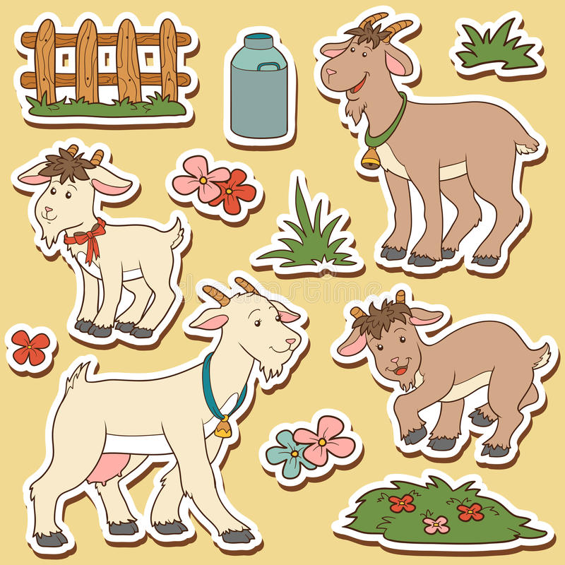 Farbsatz von netten Vieh und von Gegenständen, Vektorfamilienziege vektor abbildung