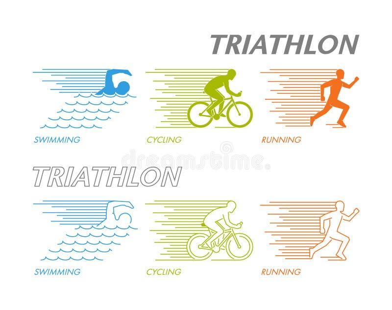 Farbsatz von Schattenbildern von triathlete lizenzfreie abbildung