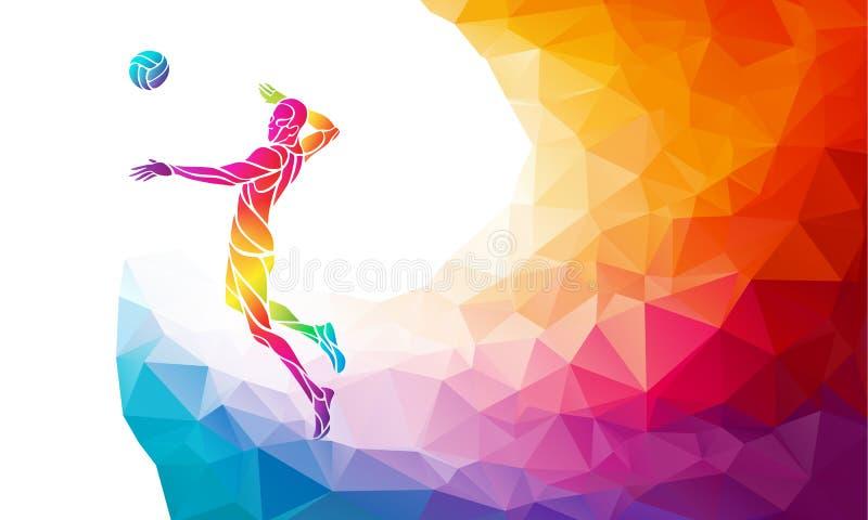 Farbschattenbild des Volleyballspielers auf Angriffsposition vektor abbildung