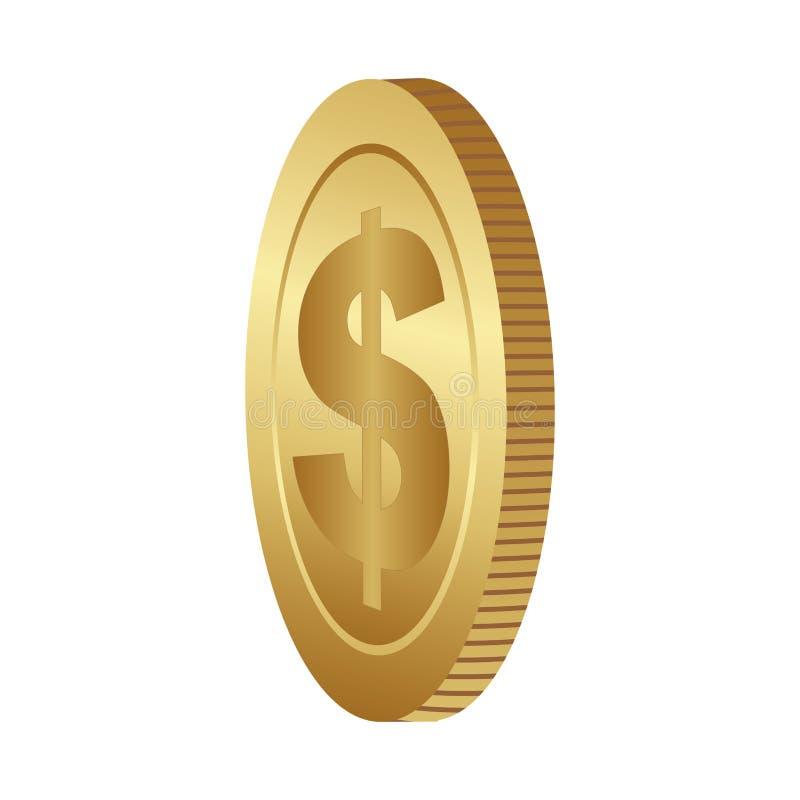 Farbschattenbild mit Münze in der Seitenansicht stock abbildung