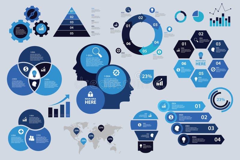 Farbschema-Geschäftsdiagramm-Pfeil-Elementdiagrammsichtbarmachung Infographic gesetzte blaue stock abbildung