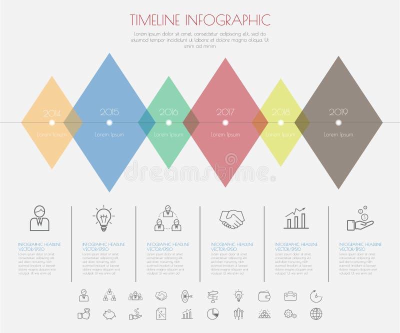 Farbschritt-Design mit Ikonenzeitachseschablone/-graphik oder -website stock abbildung
