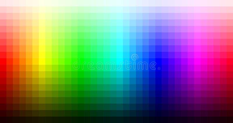 Farbspektrummosaikpalette, -farbe und -helligkeit Vektor stock abbildung
