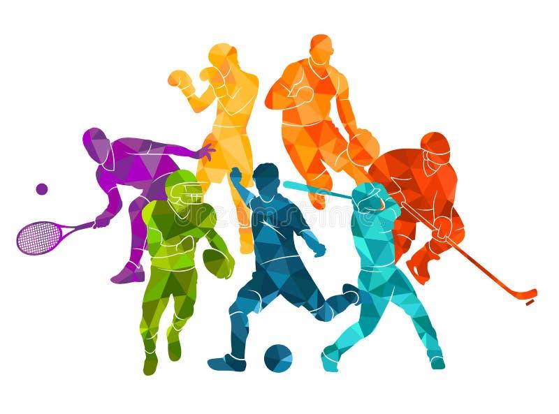 Farbsporthintergrund Fußball, Fußball, Basketball, Hockey, Kasten, Tennis, Baseball Buntes silhouett Leute der Vektorillustration lizenzfreie abbildung