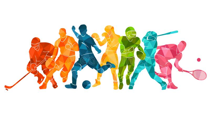 Farbsporthintergrund Fußball, Fußball, Basketball, Hockey, Kasten, Tennis, Baseball Buntes silhouett Leute der Vektorillustration vektor abbildung
