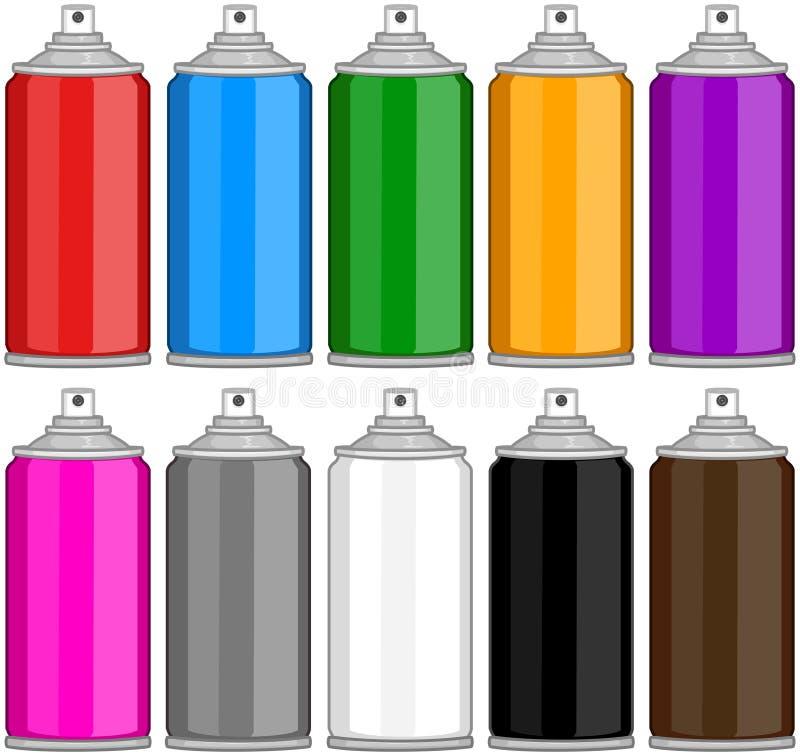 Farbspray-Dosen in den verschiedenen Farben stock abbildung