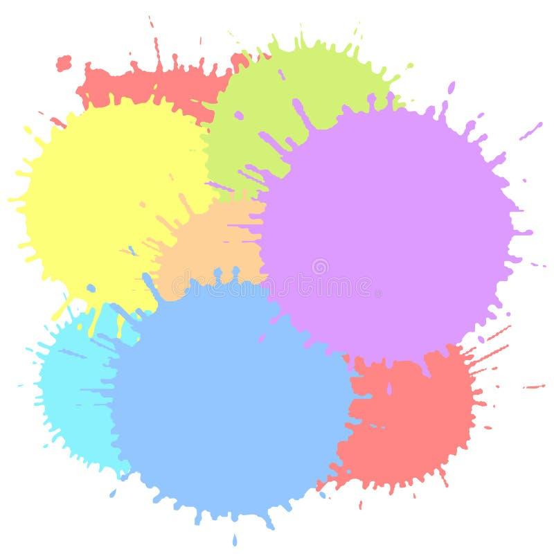 Farbtintenflecken lokalisiert auf weißem Hintergrund Bunte Vektorillustration der Farbe spritzt Mehrfarbige Spritzenelemente lizenzfreie abbildung