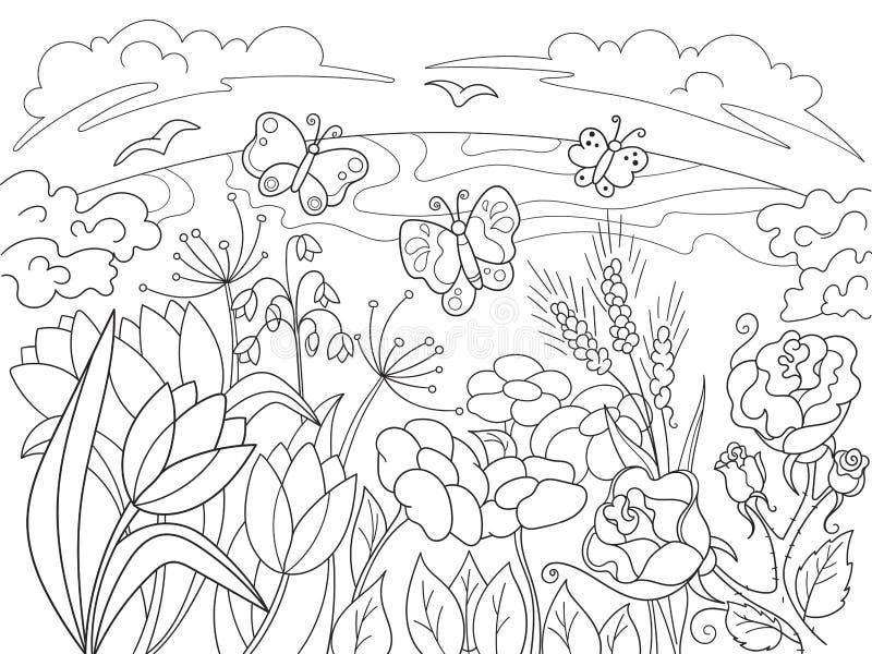 Farbton-Karikatur Lichtung der Kinder mit Blumen in der Natur stock abbildung