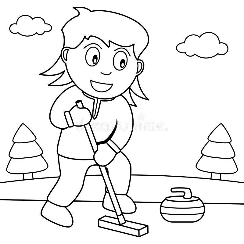 Farbton-Mädchen, welches das Winden im Park spielt vektor abbildung