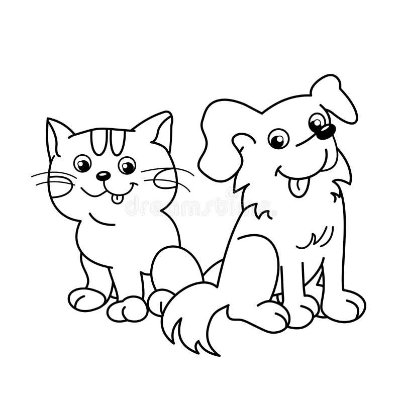 Farbton-Seiten-Entwurf der Karikaturkatze mit Hund haustiere Malbuch für Kinder stock abbildung