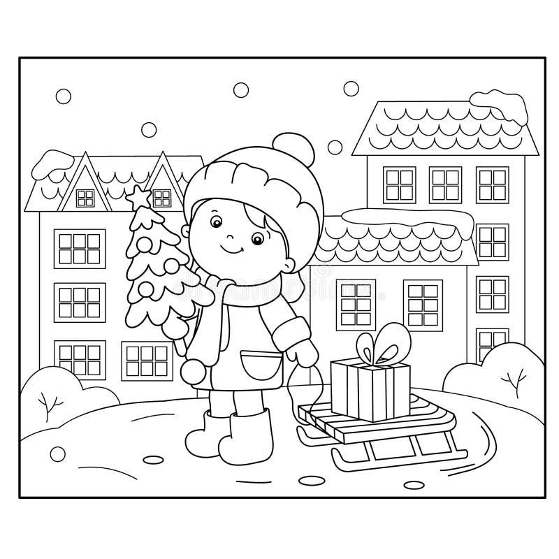 Farbton-Seiten-Entwurf des Mädchens mit Geschenken am Weihnachtsbaum Weihnachten Neues Jahr Malbuch für Kinder lizenzfreie abbildung