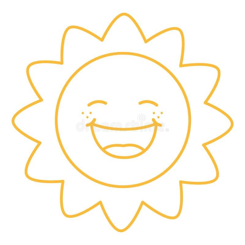 Farbton-Seiten-Illustration der Karikatur Sun lizenzfreie abbildung