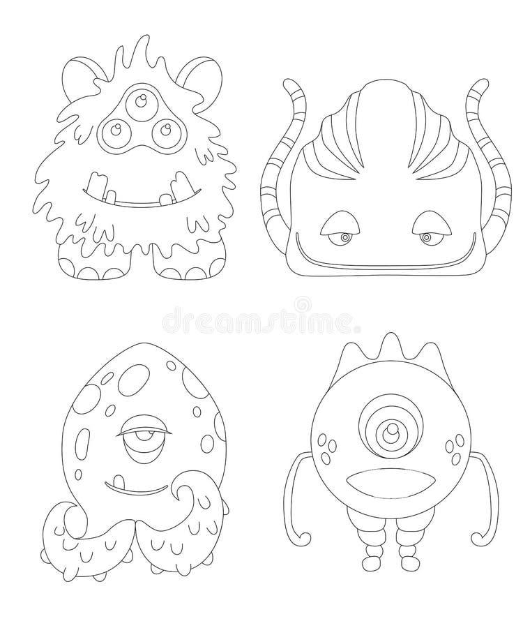 Farbtonseite der Kinder mit lustigen Karikaturmonstern vektor abbildung