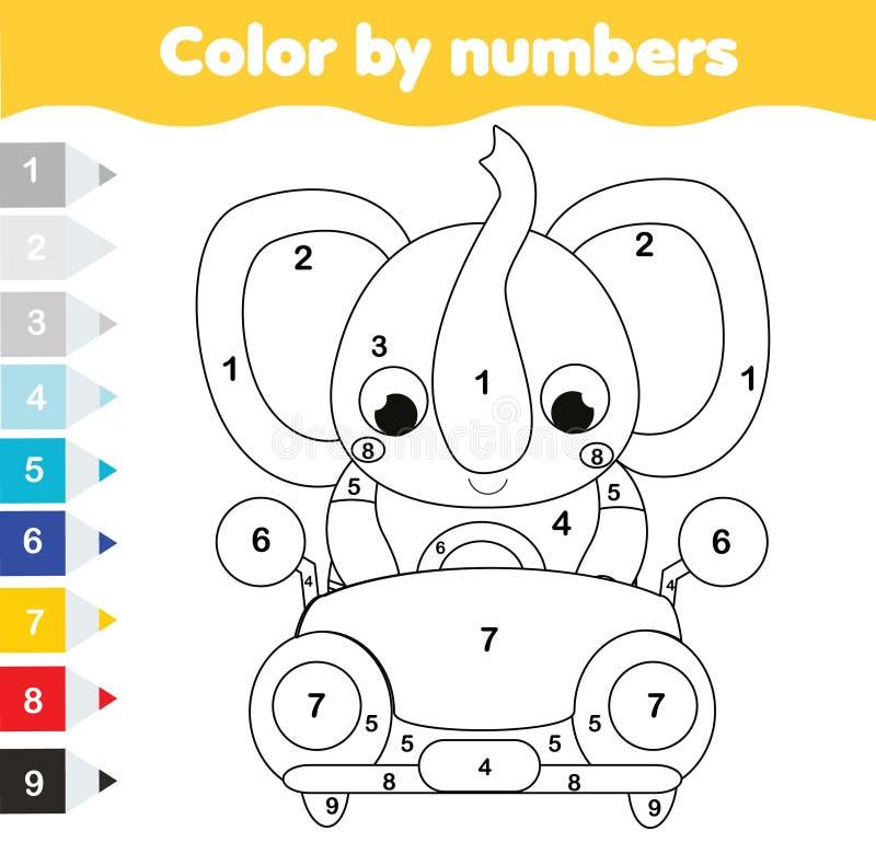 Farbtonseite für Kinder Pädagogisches Kinderspiel Farbe durch Zahlen Karikaturelefant-Antriebsauto vektor abbildung