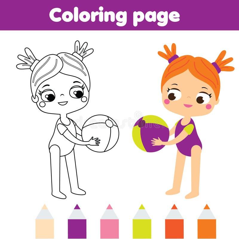 Farbtonseite für Kinder Sommerferienthema Mädchen mit Wasserball vektor abbildung