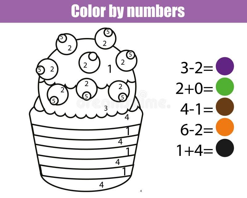 Farbtonseite mit kleinem Kuchen Farbe durch das pädagogische Spiel der Zahlen Kinder, zeichnend scherzt Tätigkeit Mathespiel stock abbildung