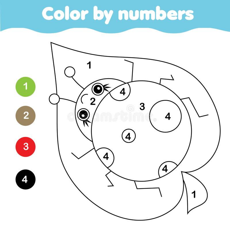Farbtonseite mit Marienkäfer Farbe durch bedruckbare Tätigkeit der Zahlen stock abbildung