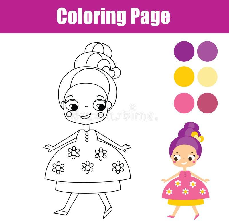 Farbtonseite mit netter Prinzessin Lernspiel für Kinder lizenzfreie abbildung