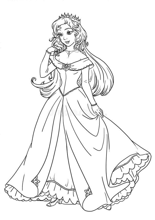 Farbtonseite mit schöner Prinzessin im hübschen Kleid lizenzfreie abbildung