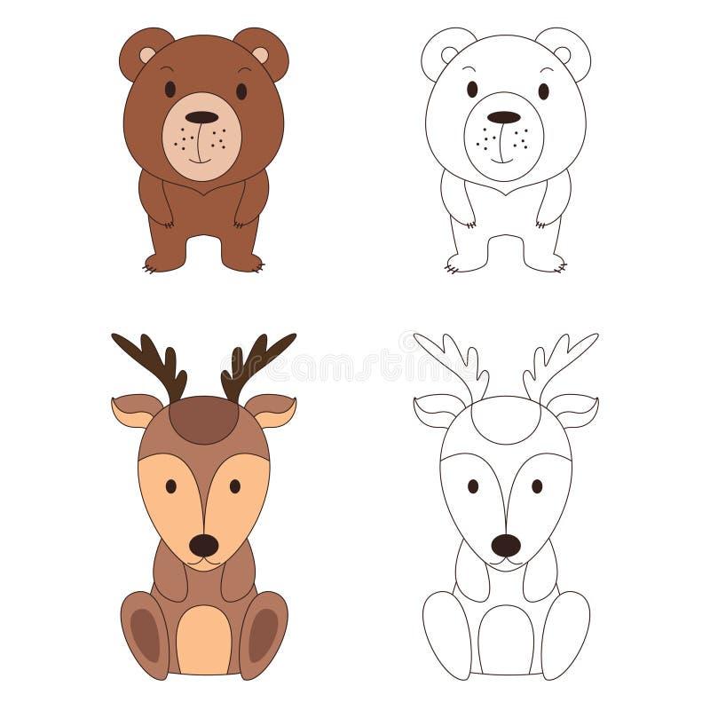 Farbtonseite mit Tier Wilde Rotwild und Bär in der Farbe und im Entwurf Auch im corel abgehobenen Betrag vektor abbildung