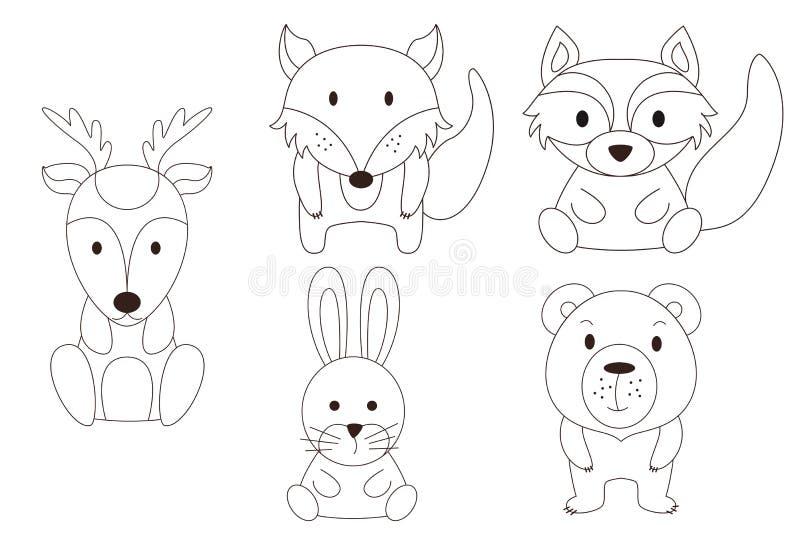 Farbtonseite mit Tier Wilde Rotwild und Waschbär, Fuge, Bär, Fuchs im Entwurf Auch im corel abgehobenen Betrag stock abbildung
