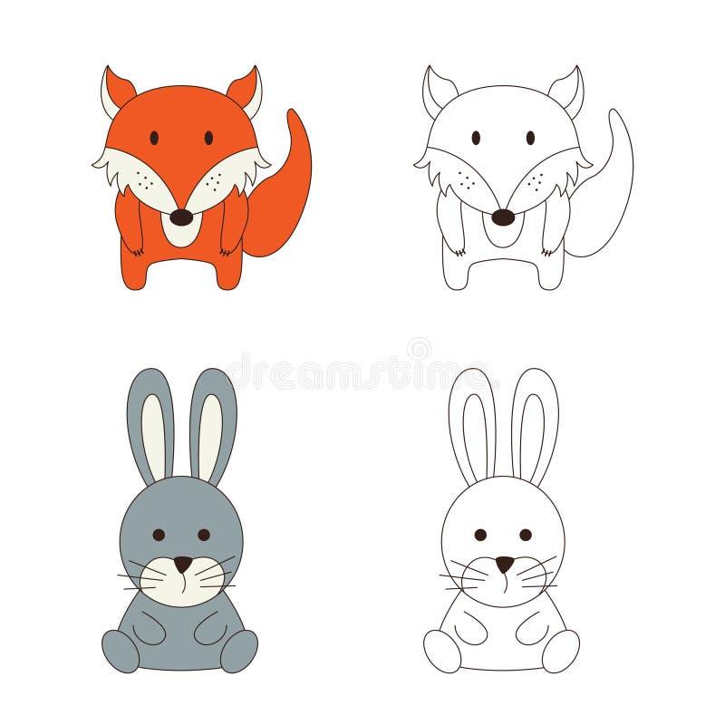 Farbtonseite mit Tier Wilder Fuchs und Kaninchen in der Farbe und im Entwurf Auch im corel abgehobenen Betrag lizenzfreie abbildung