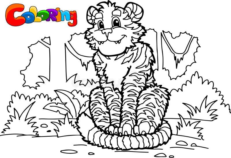 Farbtonseite Wenig netter Tiger sitzt und lächelt vektor abbildung