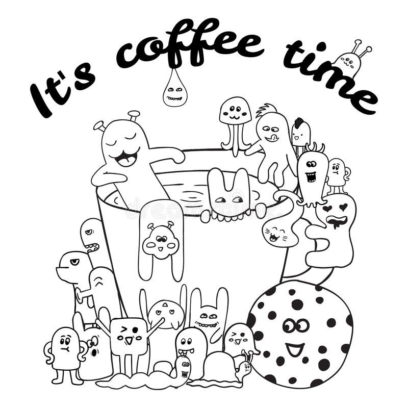 Farbtonseiten für Erwachsenbuch Schwarzweiss-Hippie-Hand gezeichnete Kaffeebeschriftung Monsterhintergrund lizenzfreie abbildung
