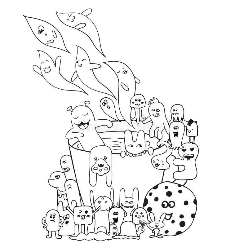 Farbtonseiten für Erwachsenmalbuch Schwarzweiss-gezeichnete Schale des Hippies Hand, Monsterhintergrund stock abbildung