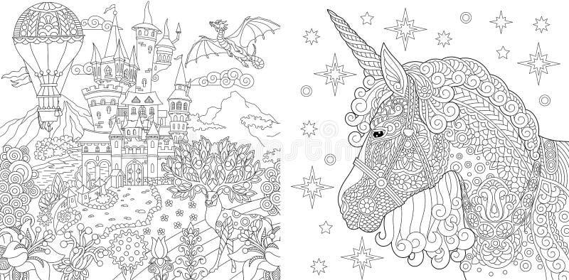 Farbtonseiten Malbuch für Erwachsene Färbungsbilder mit Märchenschloss und magischem Einhorn Antistress Handzeichen stock abbildung