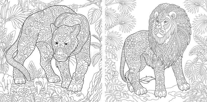 Farbtonseiten Malbuch für Erwachsene Färbungsbilder mit Panther und Löwe Antistress Handzeichenzeichnung mit Gekritzel stock abbildung
