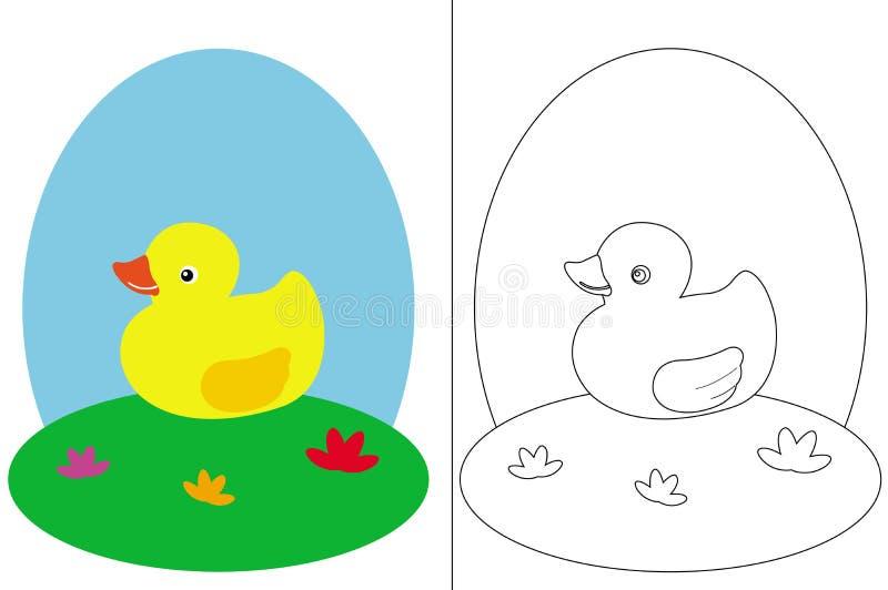 Farbtonseitenbuch mit einer kleinen Ente lizenzfreie abbildung