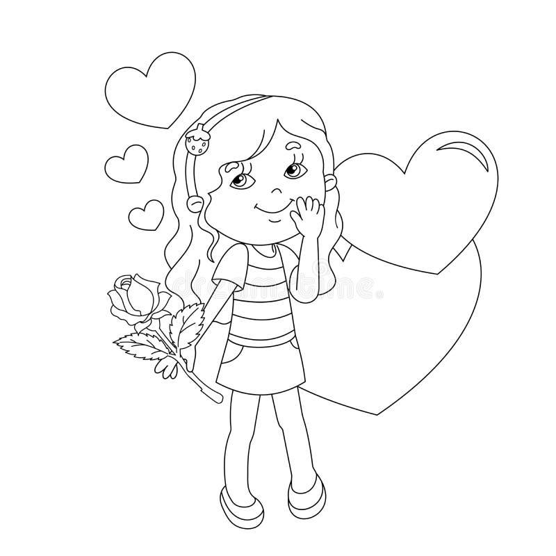 Farbtonseitenentwurf des Mädchens mit Rose und mit Herzen stock abbildung