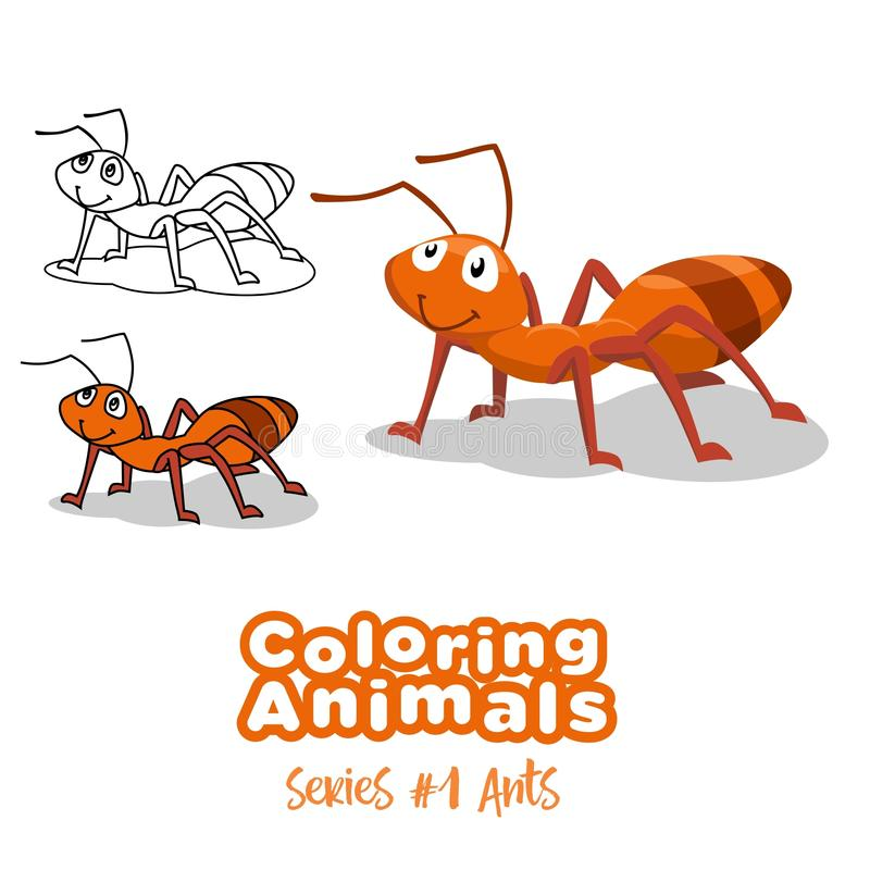 Farbtontierameisen-Vektorkarikatur für Kinder stockfoto