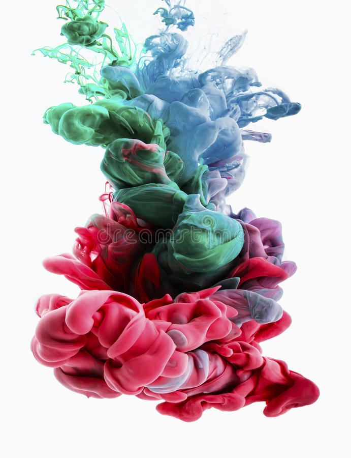 Farbtropfen Pinks, smaragd, Grün, hellblau stockfoto