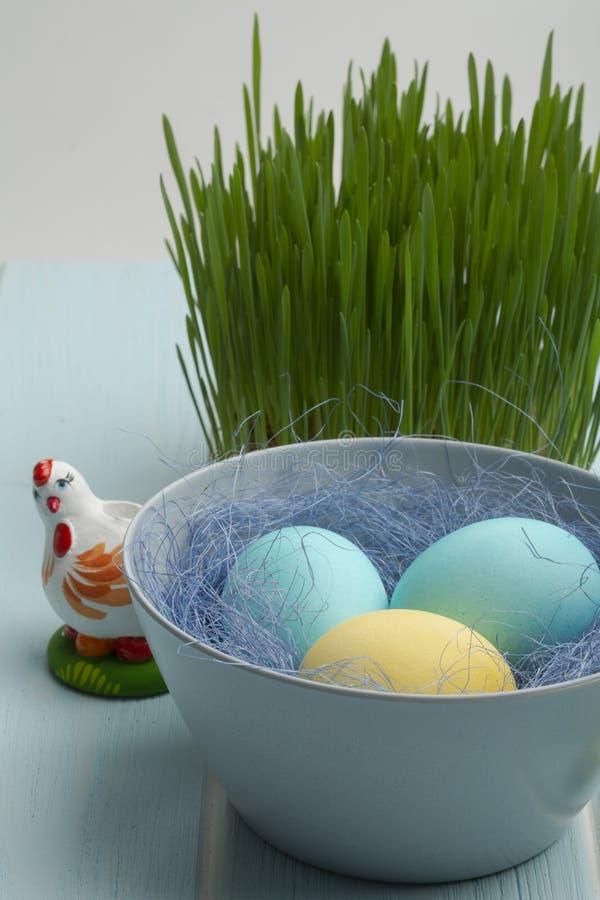Farbuję chiken jajka w pucharze zdjęcie royalty free