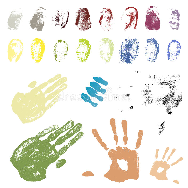 Farbunterlegte Hand- und Fingerspuren stock abbildung