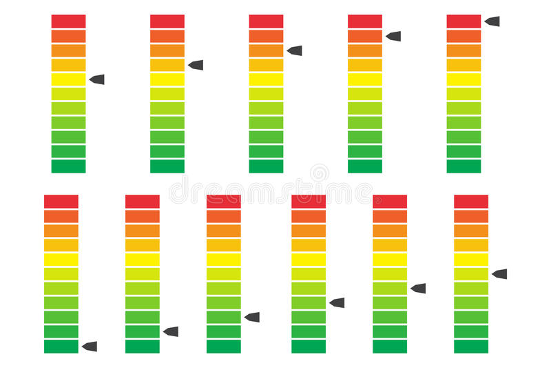 Farbunterlegter Fortschritt, Pegelstab mit Einheiten Vektor Illustartion stock abbildung