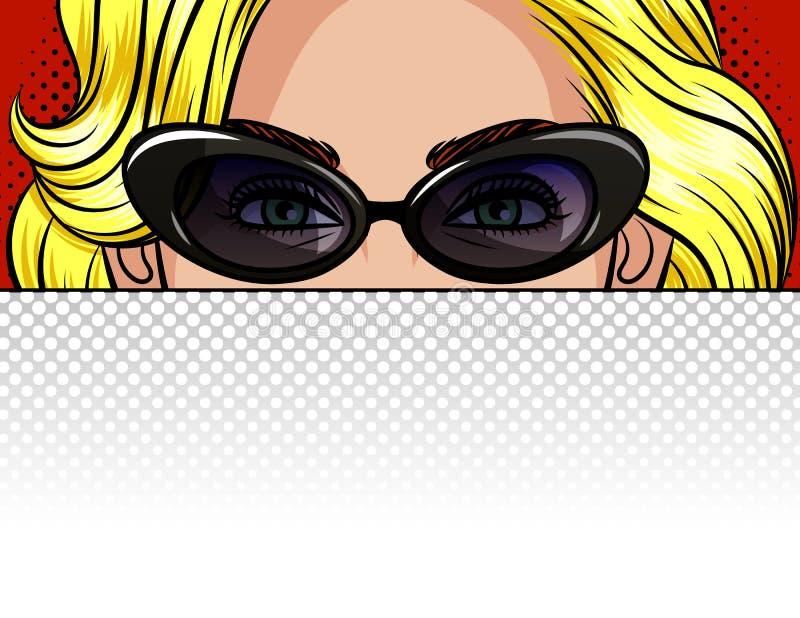 Farbvektorillustration des Mädchens hinter einem weißen Blatt Papier Plakat im Stil der schönen Blondine der Pop-Art in Weinlese  vektor abbildung