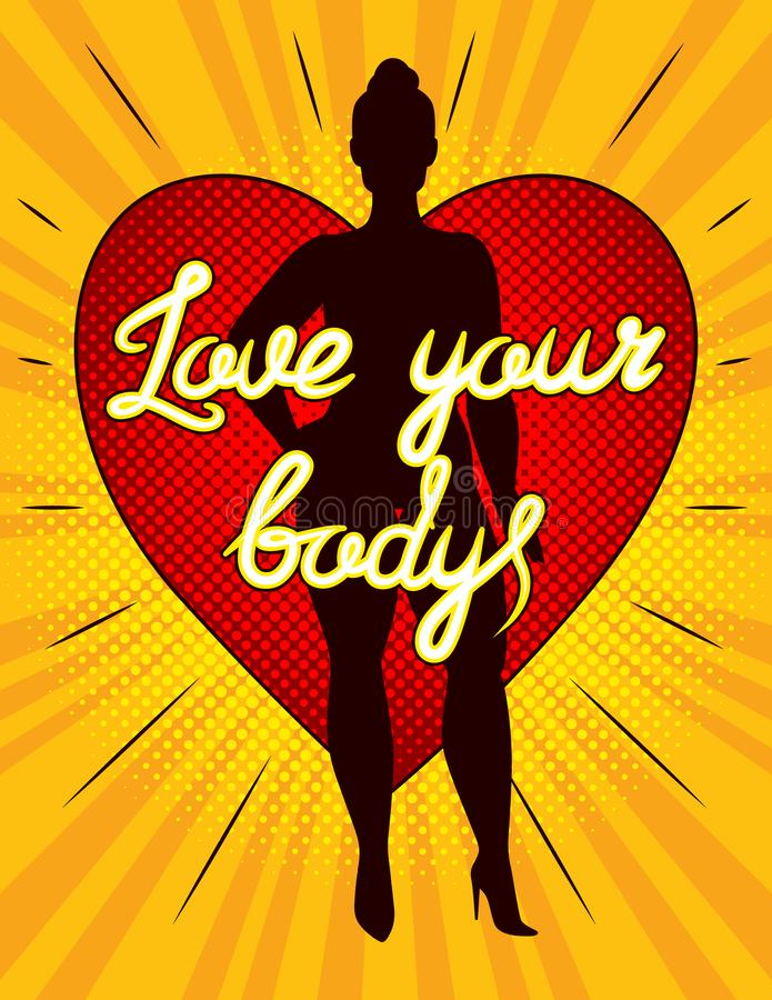 Farbvektorillustration einer Plusgrößenfrau steht vor einem großen roten Herzen mit der Aufschrift lieben Ihren Körper vektor abbildung
