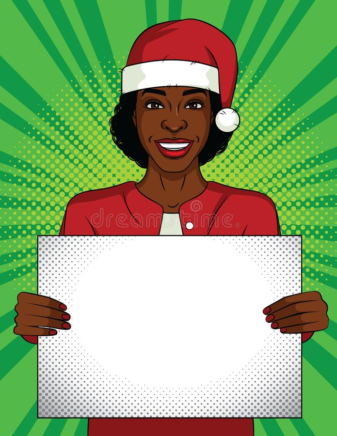 Farbvektorpop-arten-Artillustration Geschäftsfrau, die ein leeres Plakat hält Afro-amerikanische Frau, die einen Santa Claus-Hut  stock abbildung