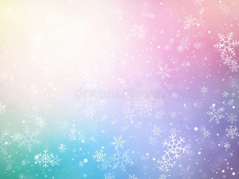 Farbweihnachtshintergrund mit Schneeflocken stock abbildung