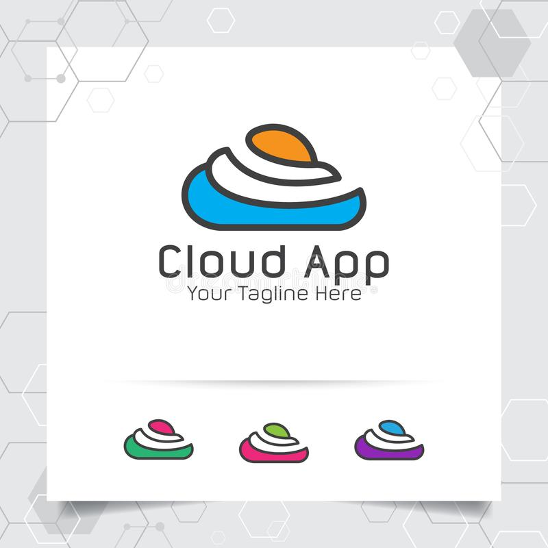 Farbwolkenlogo-Vektorentwurf mit Konzept der einfachen Farbliniewolke Wolkenikonenvektor für Geschäft, App, bewirtende Wolke und lizenzfreie abbildung