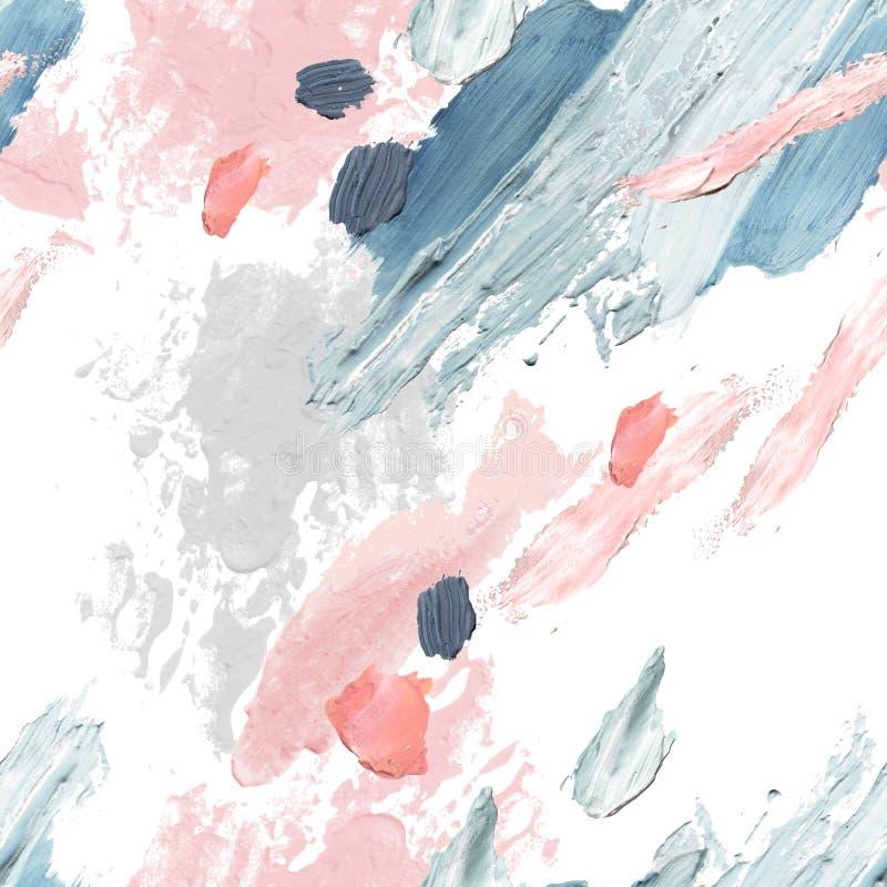 Farby akrylowe, olejowe i wodne, szorstkie wymazy, plamy, tekstura bez szwu ilustracja wektor